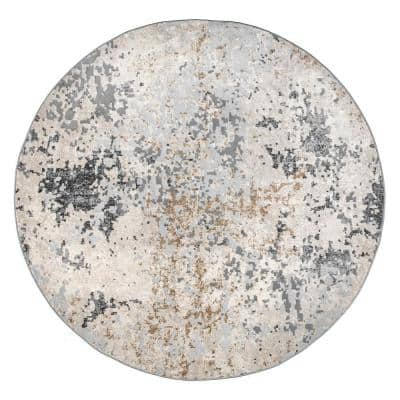 Contemporary Motto Abstract Beige 6 ft. x 6 ft. Indoor Round Area Rug