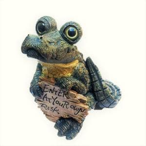 Toad Hollow Extra Large Standing Whimsical Gator with ''Enter at Your Own Risk'' Sign Alligator Statue 15''H