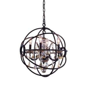 Timeless Home 17 in. L x 17 in. W x 19.5 in. H 4-Light Dark Bronze with Golden Teak Crystal Contemporary Pendant