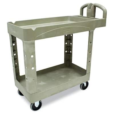 Heavy Duty Beige 2-Shelf Utility Cart with Lipped Shelf in Small