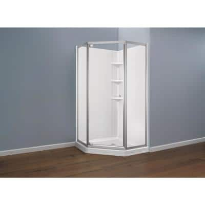 Foundations 38 in. L x 38 in. W Corner Shower Pan Base with Corner Drain in White
