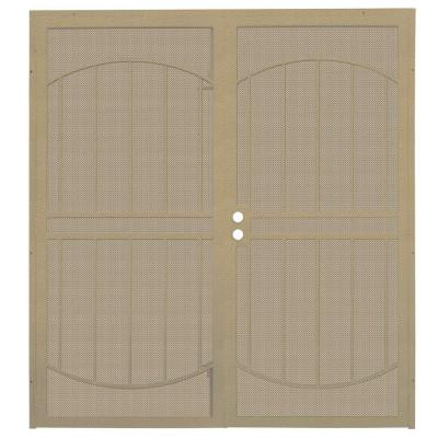 72 in. x 80 in. ArcadaMAX Tan Surface Mount Outswing Steel Security Double Door with Perforated Metal Screen