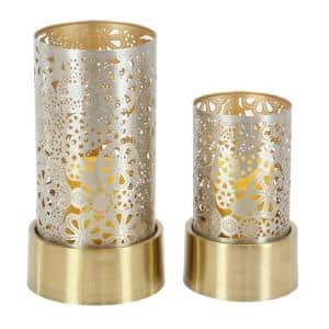 Gold Metal Eclectic Candle Lantern (Set of 2)