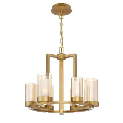 Samantha 60-Watt 6-Light LED Brass Chandelier