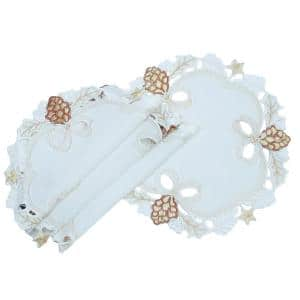0.1 in. x 16 in. Round Gilded Pines Embroidered Cutwork Christmas Doilies/Placemats (4-Set)
