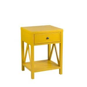 Wilco 23 in. Yellow Acacia Accent Table
