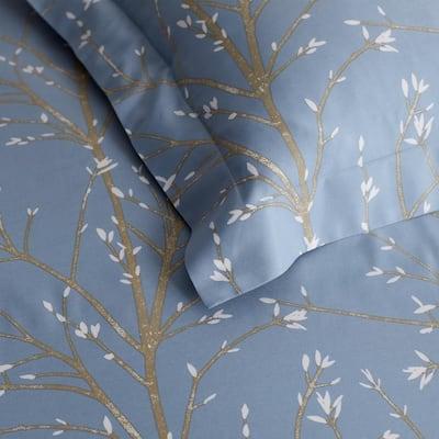 Company Cotton Thistle Blue Bamboo Sateen Flat Sheet