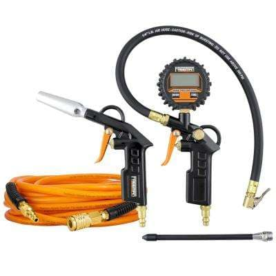 Digital Tire Inflator with High Flow Blow Gun and 1/4 in. x 50 ft. PU Polymer Hybrid Air Hose Kit