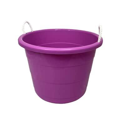 17 gal. Rope Handle Tub Storage Tote in Purple (2-Pack)