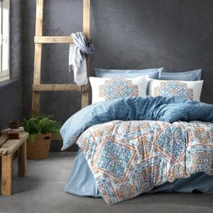 Blue Pattern Duvet Cover Set, Queen Size Duvet Cover, 1-Duvet Cover, 1-Fitted Sheet and 2-Pillowcases, Hypoallergenic