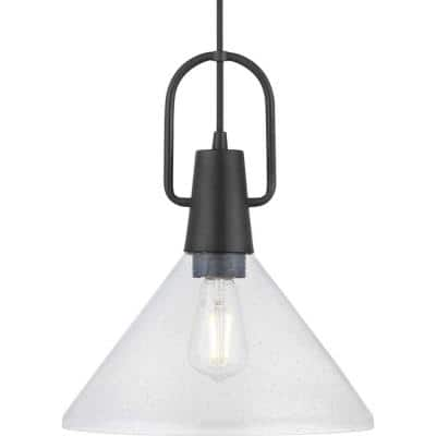 Suwanee 1-Light Matte Black Pendant with Clear Seeded Glass Shade