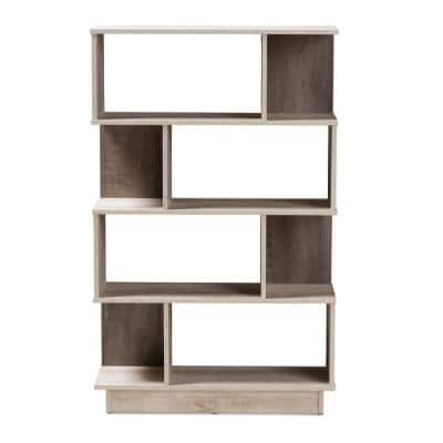 50.2 in. Oak Brown Wood 8-shelf Etagere Bookcase with Open Back