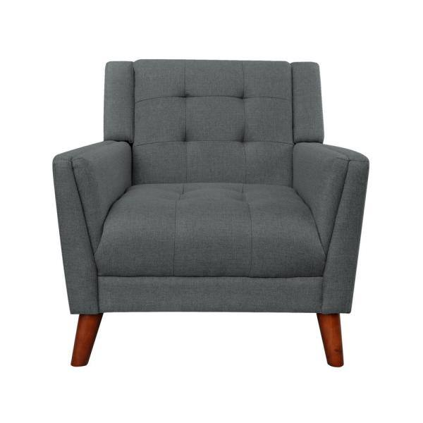 Noble House Candace Mid-Century Modern Tufted Dark Gray Fabric Armchair   The Home Depot