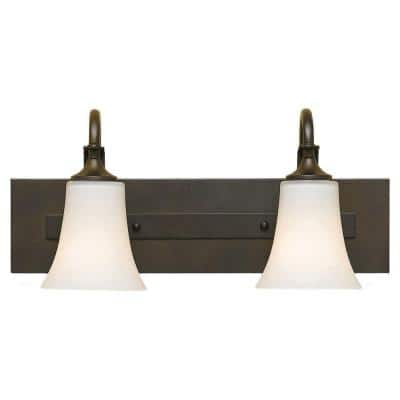Barrington 18 in. 2-Light Oil Rubbed Bronze Vanity Light with White Opal Etched Glass Shades