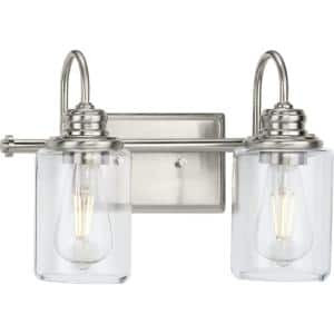 Aiken Collection 2-Light Brushed Nickel Clear Glass Vintage Wall Light