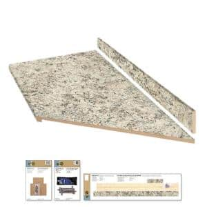 8 ft. Gray Laminate Countertop Kit With Right Miter and Eased Edge in Typhoon Ice Quarry