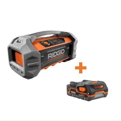 18-Volt Cordless Hybrid Jobsite Radio with Bluetooth Wireless Technology with 1.5 Ah Lithium-Ion Battery