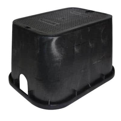 14 in. X 19 in. Rectangular Standard Series Valve Box & Cover, 12 in. Height, Black Box, Black Recycled Water Cover