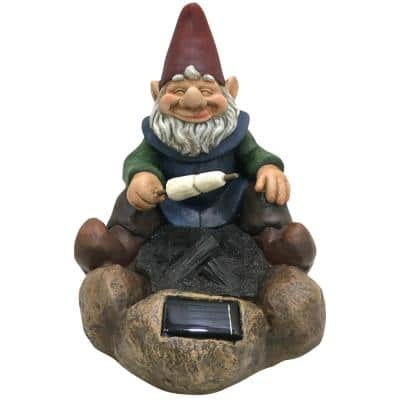 11 in. H Resin Solar Powered LED Gnome Roasting Marshmallows Lawn Statue