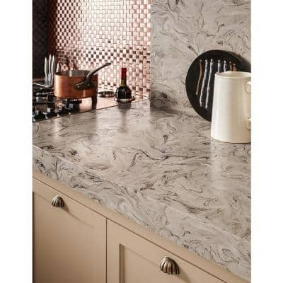 2 in. x 2 in. Solid Surface Countertop Sample in Smoke Drift Prima