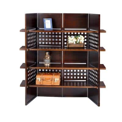 Walnut Finish 4 - -Panel Bookcase Room Divider