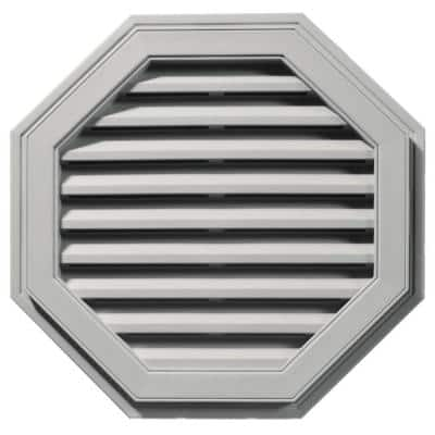 27 in. x 27 in. Octagon Gray Plastic Built-in Screen Gable Louver Vent