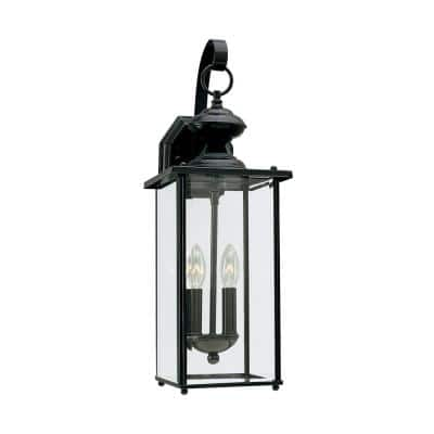 Jamestowne 7 in. W 2-Light Black Outdoor Wall Lantern Sconce with Clear Beveled Glass
