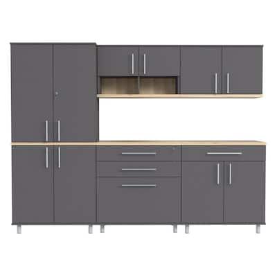 KRATOS 5-Piece Garage Storage System in Dark Gray and Maple (94.5 in. W x 70.8 in. H x 19.6 in. D)