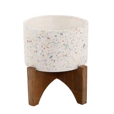 5 in. Neutral Concrete Terrazzo Planter on Stand Stoneware Planter