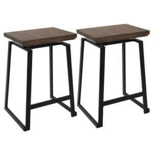 Geo 24 in. Walnut and Black Counter Stool (Set of 2)