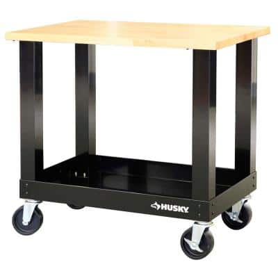Ready-to-Assemble 3 ft. Portable Solid Wood Top Workbench with Casters in Black