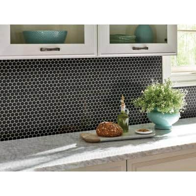 Penny Round Nero 12.32 in. x 11.38 in. x 6mm Matte Porcelain Mesh-Mounted Mosaic Tile (14.4 sq. ft./case)