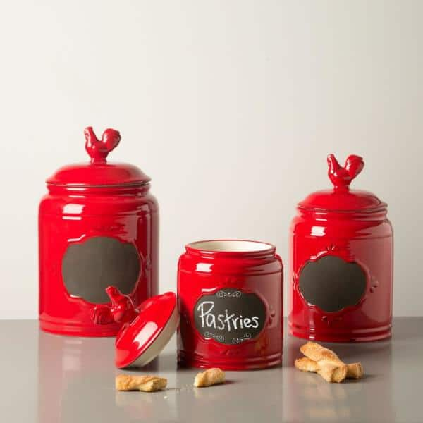 Home Essentials Beyond Red Ceramic Chalkboard Canisters Set Of 3 72019 The Home Depot
