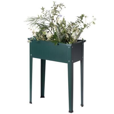 Green Metal Freestanding Raised Garden Bed Rectangular Flower Planter