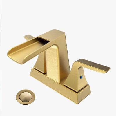 Surface-Mounted 4 in. Centerset Double Handles High Arc Bathroom Faucet with Drain in Brushed Gold