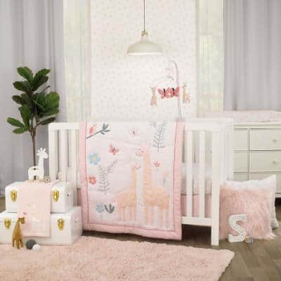 Pretty Pink Giraffes Multi Colored 3-Piece Crib Bedding Set Comforter Fitted Crib Sheet and Crib Skirt