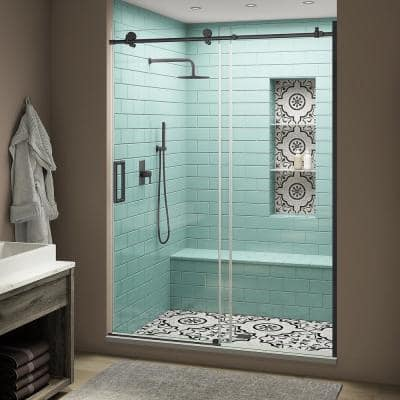 Coraline XL 56 - 60 in. x 80 in. Frameless Sliding Shower Door with StarCast Clear Glass in Matte Black Left Hand