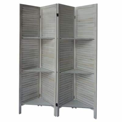 5.5 ft. White Plank 4-Panel Folding Room Divider Privacy Screen with 9 Storage Shelves and Metal Hinges