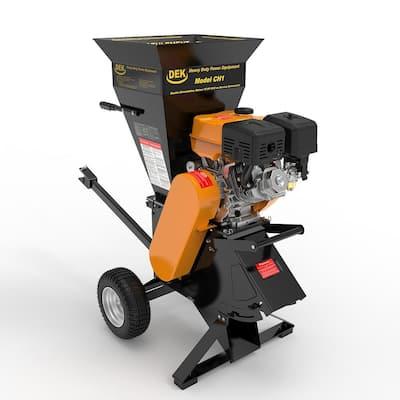 DEK 4 in. 15 HP 420cc Gas Powered Self-Feeding Commercial Duty Chipper Shredder w/ Trailer Hitch, Gloves, Goggles included
