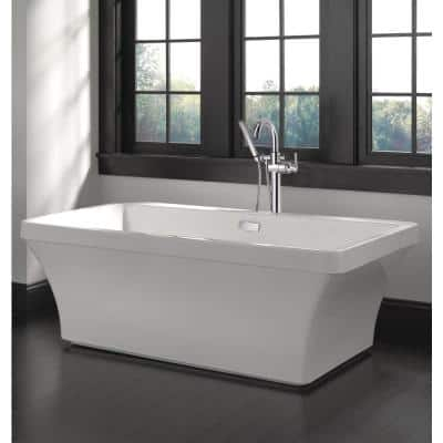 Everly 67 in. Acrylic Flatbottom Bathtub with Integrated Waste and Floor-Mount Tub Filler in White