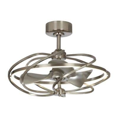 27 in. Bucholz LED Indoor Satin Nickel Downrod Mount Chandelier Ceiling Fan with Light and Remote Control
