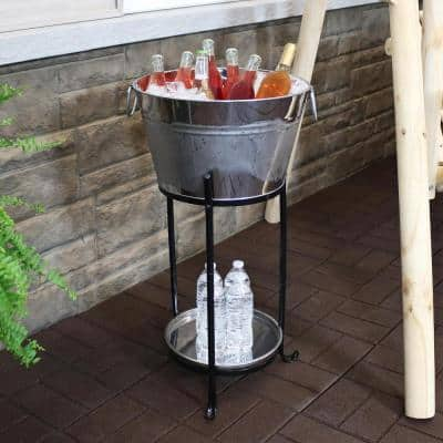 Ice Bucket Drink Cooler with Stand and Tray for Parties, Stainless Steel, Holds Beer, Wine, Champagne and More