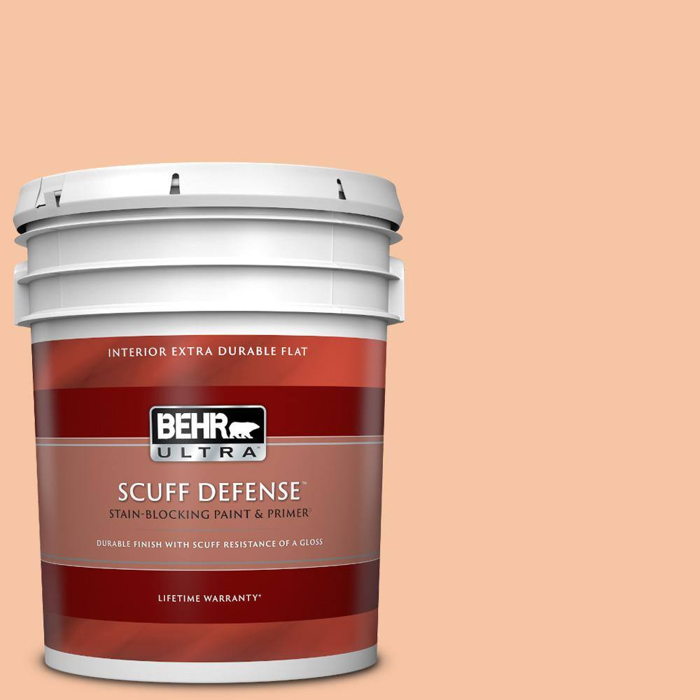 Behr Ultra 5 Gal 240c 3 Peach Damask Extra Durable Flat Interior Paint Primer 172005 The Home Depot