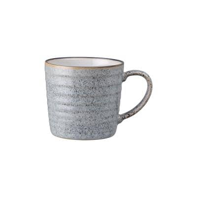 13.52 oz. Studio Grey/White Ridged Coffee Mug