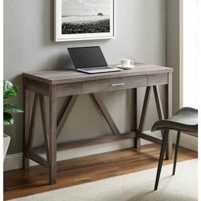 46 in. Grey Wash Rectangular 1 -Drawer Writing Desk with Open Back