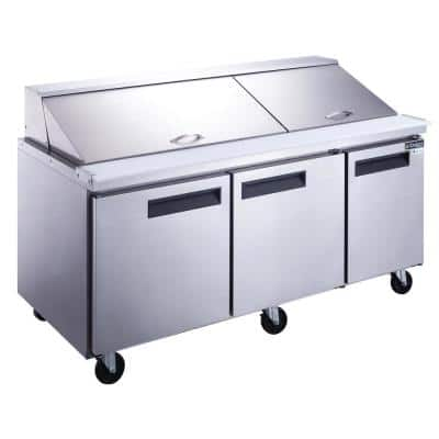 72 in. W 17.5 cu. Ft. 3-Door Commercial Food Prep Table Refrigerator in Stainless Steel with Mega Top