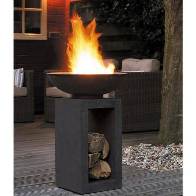 16 in. x 26 in. Rectangular Magnesium Oxide Wood Burning Midas Fire Pit in Dark Granite