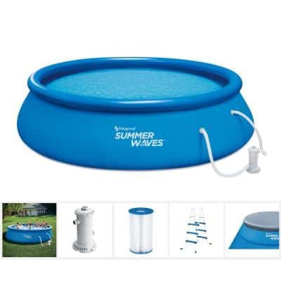 Quick Set 15 ft. Round 42 in. D Inflatable Pool Package with Cartridge Filter Pump