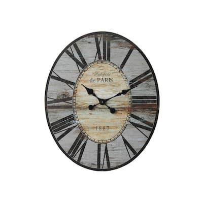 Distressed Grey Wood Wall Clock