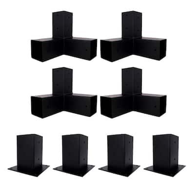 8 ft. x 8 ft. Black Steel Brackets Kit Pergola